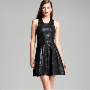 Parker Olida Black Snake Coated Fit & Flare Dress